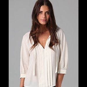 Joie Mirabella Ivory Silk Sheer Pleated Blouse L